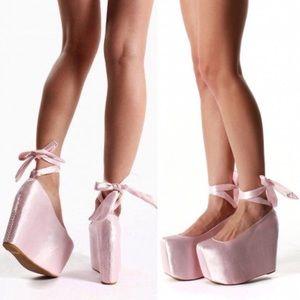 Jeffrey Campbell x wildfox pink ballet platforms 6